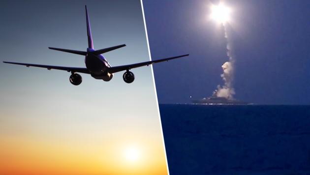 Fluglinien sind in Sorge, seit Russland Marschflugkörper in Syrien auf die Reise schickt. (Bild: thinkstockphotos.de, APA/EPA/RUSSIAN DEFENCE MINISTRY)