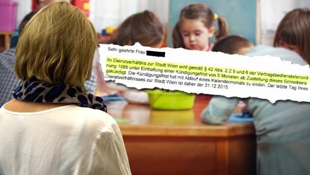 """Die Kindergärtnerin im """"Krone""""-Gespräch - daneben: die Kündigung (Bild: Richard Schmitt, """"Krone"""", thinkstockphotos.de)"""