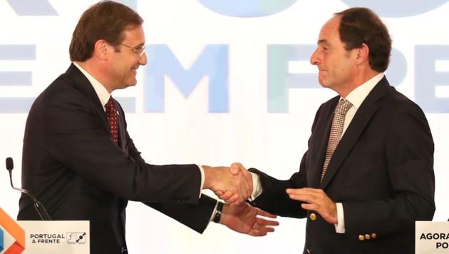 Premierminister Pedro Passos Coelho (li.) und sein Vize Paulo Portas (Bild: AP)