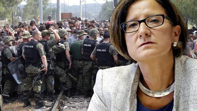 """Innenministerin Johanna Mikl-Leitner warnt vor """"mazedonischen Zuständen"""". (Bild: AP, Klemens Groh)"""