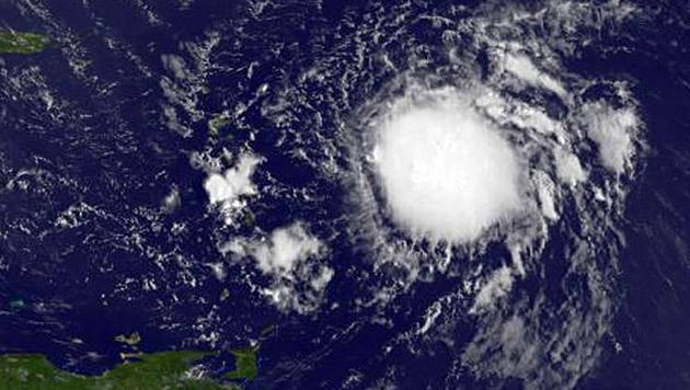 "Tropensturm ""Erika"" am 26. August nahe der Kleinen Antillen (Bild: NASA/NOAA GOES Project)"