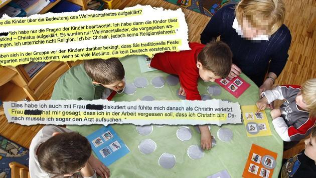 """Auszüge aus dem Gesprächsprotokoll der MA 10 mit der Wiener Kindergartenpädagogin (Bild: APA/HARALD SCHNEIDER, """"Krone"""")"""