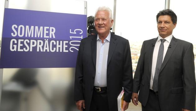 """Frank Stronach und ORF-Moderator Hans Bürger vor dem """"Sommergespräch"""""""