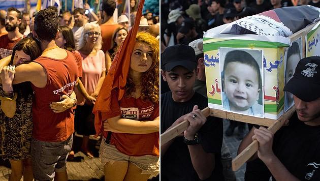 Anti-Gewalt-Kundgebung in Jerusalem; Trauerzug für den 18 Monate alten Ali Dawabsheh (Bild: APA/EPA/ABIR SULTAN, AP)