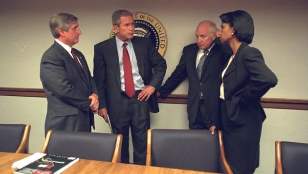 Der Ex-Stabschef des Weißen Hauses, Andrew Card, George W. Bush, Dick Cheney und Condoleezza Rice (Bild: AFP)