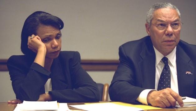 Condoleezzaa Rice und der damalige Außenminister Colin Powell (Bild: AFP)