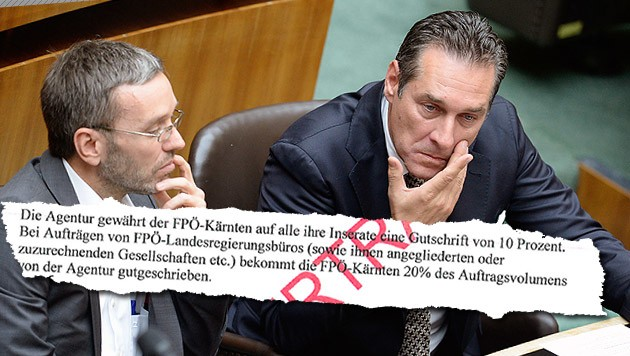 """Vom """"Falter"""" veröffentlichte Unterlagen bringen FP-Chef Strache und FP-General Kickl in Bedrängnis. (Bild: APA/ROBERT JAEGER, Falter)"""