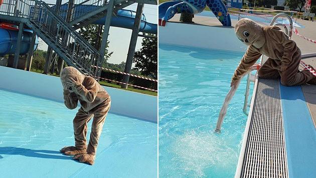 Das Verzweifelte Maskottchen Des Bades Im Leeren Becken (Bild:  Facebook.com/berndlbad