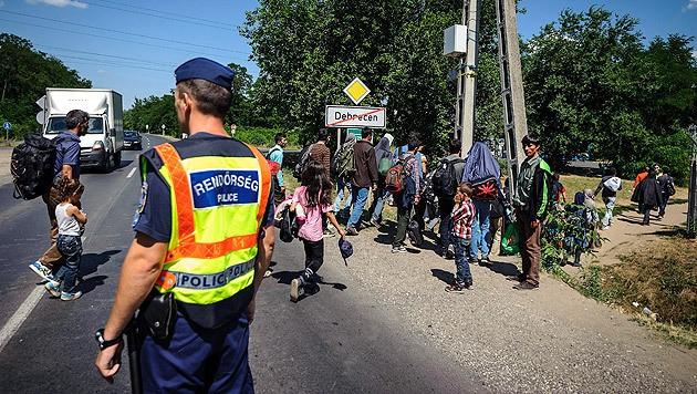 Ein ungarischer Polizist eskortiert Flüchtlinge in ein Camp im Osten des Landes. (Bild: APA/EPA/ZSOLT CZEGLEDI)