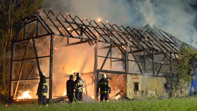 Ein Brandleger zündete diesen Stadl an, der völlig ausbrannte. (Bild: http://mariokienberger.at)