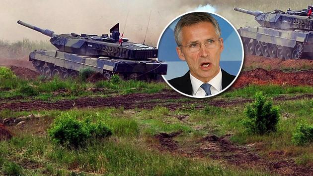 Dänische Leopard-2A5-Panzer bei einer Übung in Polen; kleines Bild: NATO-Chef Stoltenberg (Bild: APA/EPA/MARCIN BIELECKI POLAND OUT, APA/EPA/OLIVIER HOSLET)