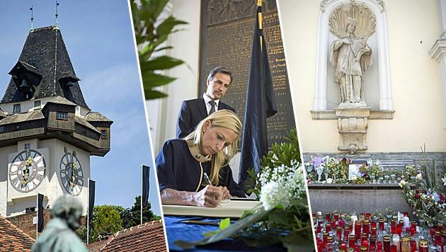 US-Botschafterin Alexa Wesner trägt sich gemeinsam mit BM Siegfried Nagl ins Kondolenzbuch ein. (Bild: APA/ERWIN SCHERIAU)
