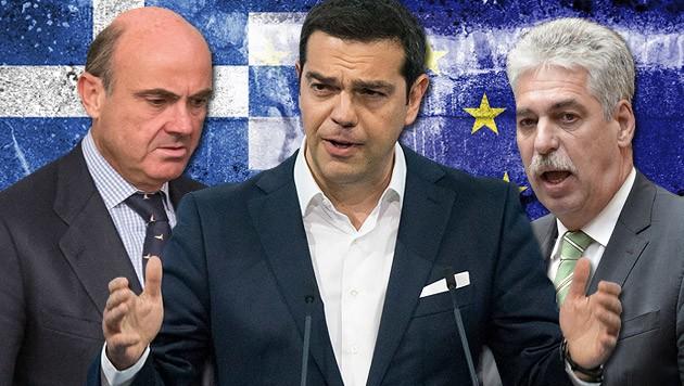 Alexander Stubb, Alexis Tsipras und Hans Jörg Schelling (Bild: AP, APA, thinkstockphotos.de)