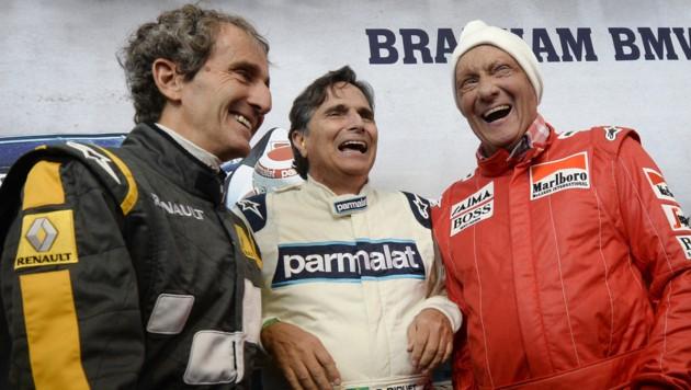 Die Legenden: Alain Prost, Nelson Piquet und Niki Lauda (Bild: APA/HANS KLAUS TECHT)