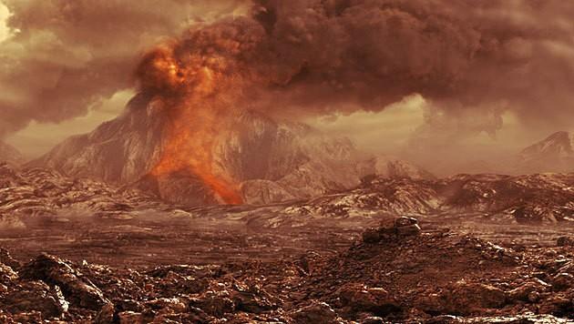Künstlerische Darstellung eines aktiven Vulkans auf der Venus (Bild: © ESA/AOES Medialab)