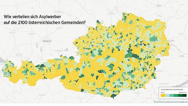 Auf dieser Grafik ist zu sehen, in welchen Gemeinden keine Asylwerber (gelb eingefärbt) leben. (Bild: twitter.com/KlausSchwertner)