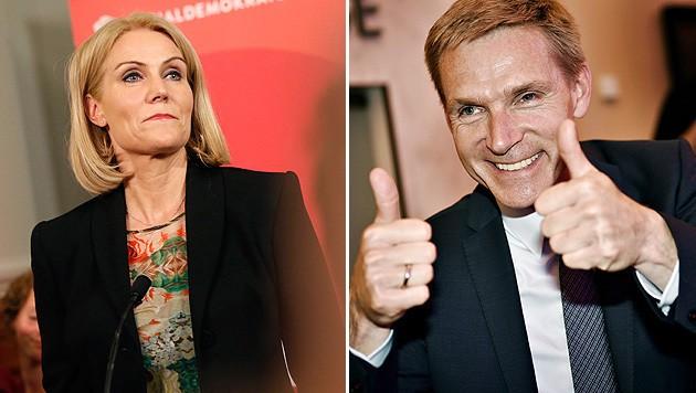 Ministerpräsidentin Thorning-Schmidt (li.) trat zurück, Rechtspopulist Thulesen Dahl (re.) feierte. (Bild: AP, APA/EPA/LINDA KASTRUP)