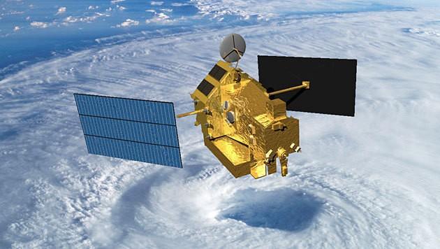 Der Satellit TRMM über einem Wirbelsturm. (Bild: NASA)