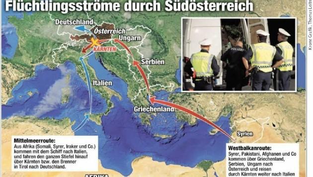 Zwei Schlepper-Routen die sich in Kärnten treffen (Bild: Thomas Leitner, Krone Grafik)