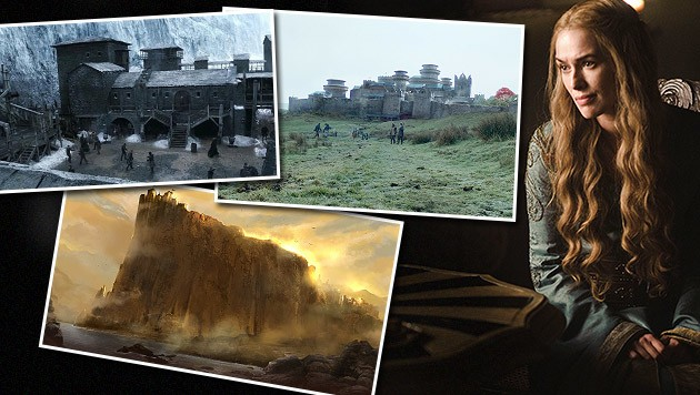 Cersei Lennister (Lena Heady) würde Casterlystein (u.) nie verkaufen. Oben: Castle Black, Winterfell (Bild: © 2015 Home Box Office, Inc. All rights reserved)