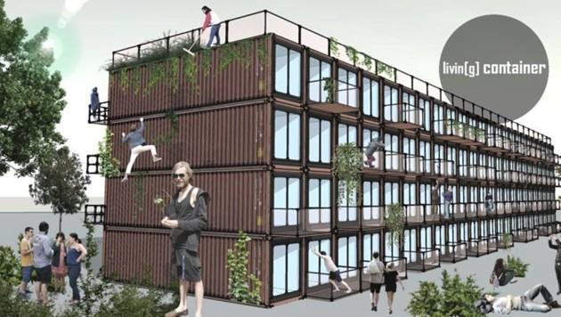 So könnte eine Containersiedlung aussehen. Geplant sind auch Wasch- und Gesellschafts-Container. (Bild: Living Container)