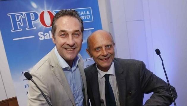 FPÖ-Bundesparteichef Heinz Christian Strache mit Salzburg-Parteiobmann Andreas Schöppl. (Bild: Markus Tschepp)