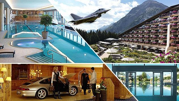 Hochkarätig: Bilderberger nächtigen von Polizei und Luftwaffe beschützt im Interalpen-Hotel Tyrol. (Bild: interalpen.com, APA/KMA, krone.at-Grafik)