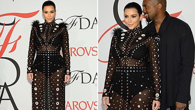 Kim Kardashian zeigt zum ersten Mal ihren Mini-Babybauch. (Bild: Evan Agostini/Invision/AP)