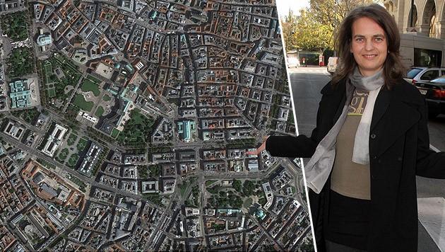 Fußgängerbeauftragte Petra Jens ist von der neuen Karte begeistert. (Bild: Andi Schiel, Google Earth Pro)