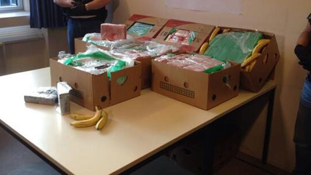 Anfang 2014 war in Berlin eine große Menge Kokain in Bananenschachteln entdeckt worden. (Bild: Twitter.com/LKA Berlin)
