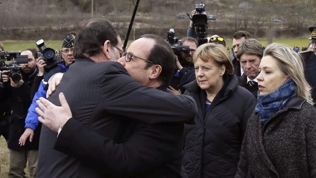Emotionales Aufeinandertreffen von Hollande Merkel und Rajoy in den französischen Alpen