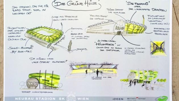"""Der Plan für die """"grüne Hölle"""": So soll das Rapid-Stadion aussehen."""