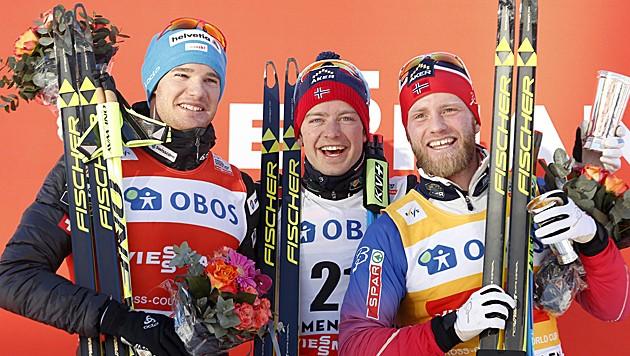 Dario Cologna, Sjur Röthe und Martin Johnsrud Sundby