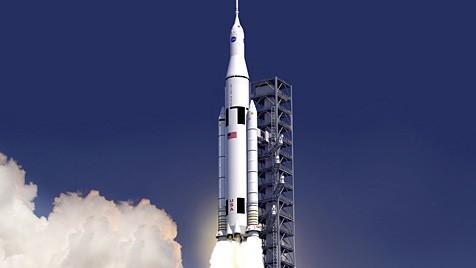 """Künstlerische Illustration der Schwerlastrakete """"Space Launch System"""""""