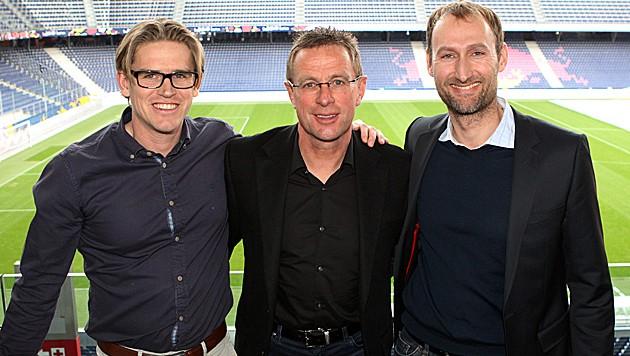 Christoph Freund, Ralf Rangnick und Jochen Sauer