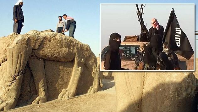 Irakische Arbeiter in Nimrud (Archivbild), das nun von IS-Kämpfern überrannt wurde