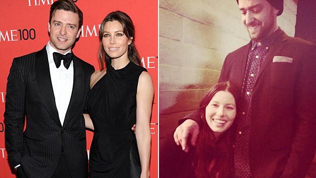 Justin Timberlake macht seiner schwangeren Jessica Biel ein süßes Liebesgeständnis. (Bild: Evan Agostini/Invision/AP, facebook.com/justintimberlake)