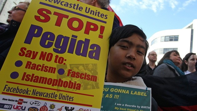 Teilnehmer der Gegendemonstration