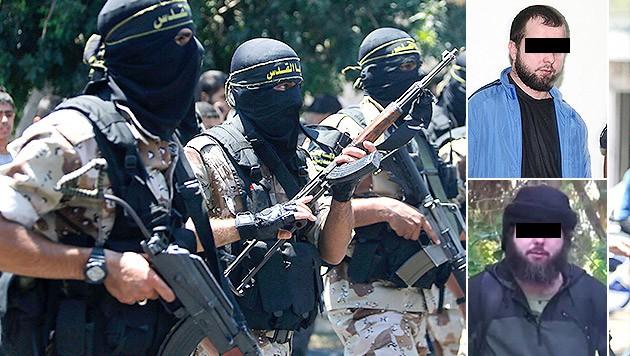 Ahmed C. (oben) bei einem Prozess 2012 und Jahre später (unten) in einem IS-Propaganda–Video (Bild: AP, haskovo.info, rferl.mobi, krone.at-Grafik)