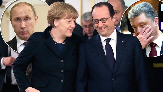 V.l.: Wladimir Putin, Angela Merkel, Francois Hollande, Petro Poroschenko (Bild: APA/EPA/TATYANA ZENKOVICH)
