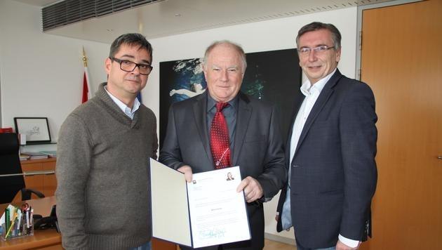 Hermann Priller von der Landesregierung, Wolfgang Stropek, Bürgermeister Herbert Thumpser (Bild: IGFC)