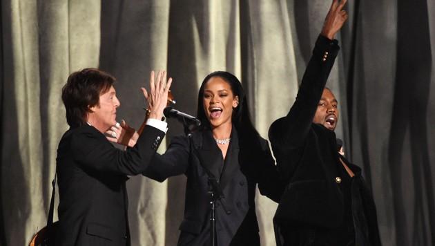 Paul McCartney, Rihanna und Kanye West (Bild: John Shearer/Invision/AP)