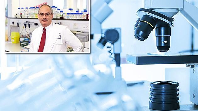 Camillas stolzer Vater, der britische Krebsforscher Michael P. Lisanti (Bild: manchester.ac.uk, thinkstockphotos.de (Symbolbild))