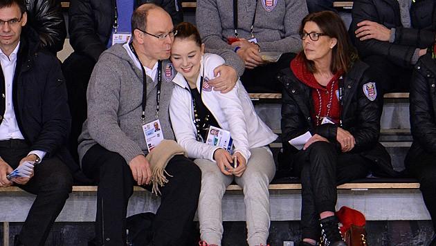 Fürst Albert und Caroline drückten der 15-jährigen Alexandra die Daumen. (Bild: Kerstin Joensson)