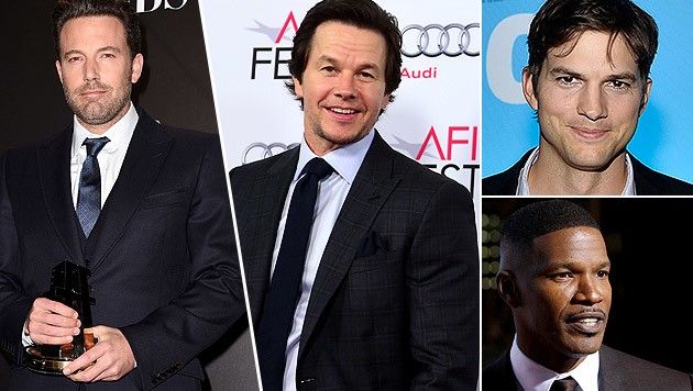 Ben Affleck, Mark Wahlbergs, Ashton Kutcher und Jamie Foxx verraten ihre Ängste. (Bild: AP, AFP)