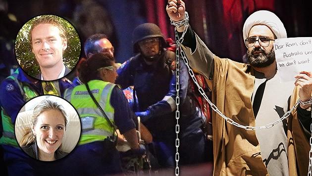 Tori Johnson (kl. Bild oben) und Katrina Dawson starben; rechts: Geiselnehmer Man Haron Monis (Bild: APA/EPA/SERGIO DIONISO, APA/EPA/FAMILY HANDOUT, LinkedIn, AP)