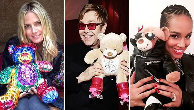 Heidi Klum, Alicia Keys und Elton John kreierten ihren persönlichen Bären. (Bild: facebook.com/bobbibear)