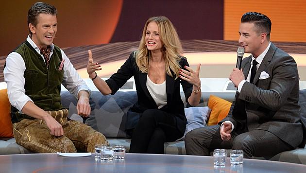 Markus Lanz, Mirjam Weichselbraun und Andreas Gabalier (Bild: APA/ZDF/Sascha Baumann)