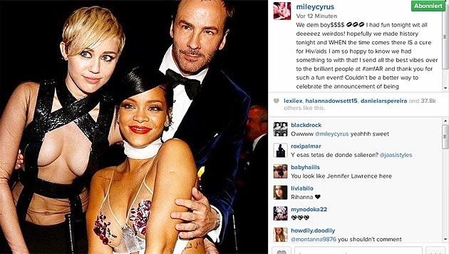 Gemeinsam mit Tom Ford posierten Miley und Rihanna vor der Kamera.