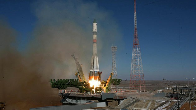 """Der Start der """"Sojus""""-Rakete mit dem Raumtransporter """"Progress"""""""